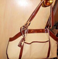 Liz Clairborne Beige Canvas Dark Brown Faulk straps and trims Hand Shoulder Bag