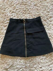 Topshop Black Gold Zip Large Pocket Mini Skirt Size 10