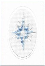 "Blue Shining Star - Cross Stitch A6 White Oval Card Kit 4"" x 6"" - 14 Count"