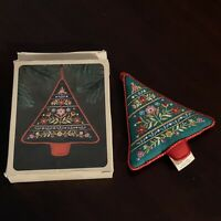 Vtg Hallmark 1981 Embroidered Christmas Tree Fabric Ornament Stuffed
