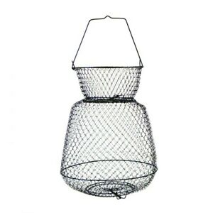 """EAGLE CLAW Large Wire Fish Basket - 14"""" X 25"""" - Collapsible Floating Black"""