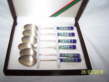 Boxed set of 6 spoons ~ Cloisonne ~ Made in Korea ~ 70% 99