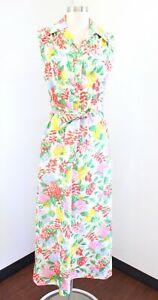 Vtg 70s Jennifer Gee Colorful Floral Print Maxi Dress Size 14 Hostess Tie Waist