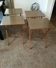 Vintage Scheibe Wood Folding TV Trays Snack Serving 4 Tables Set Mid Century 60s