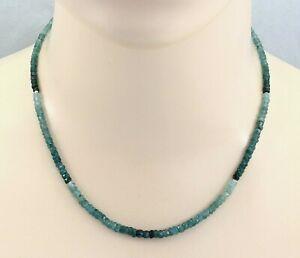 Grandidierit Kette facettiert - blau-grüne Grandidierite mit Perlen  46 cm lang