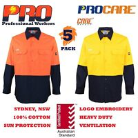 5 pack Hi Vis Work Shirt vented cotton drill long sleeve Safety WORKWEAR no tape
