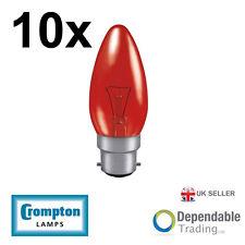 10 x Crompton 40w BC - B22 Fireglow Bougie Ampoule Lumière 35mm (FIRCAN40BC)