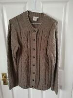 COTTON TRADERS WOMENS BROWN LONG BUTTON CARDIGAN SIZE 10 LENGTH 28 PIT TO PIT 17