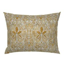Indian Gold Silver Persian Batik Ikat Holiday Pillow Sham by Roostery