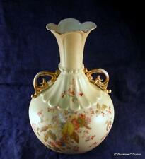 C1905 R W Rudolstadt Germany Hand Painted Florals Art Nouveau Tall Ornate Vase