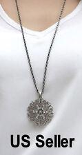 Snowflake pendant + long chain necklace  Free shipping Chrismas gift US seller