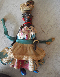 """Unique Vintage Jointed Rubber Black Character Girl Doll 6"""" Tall"""