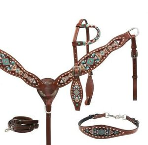 Showman Navajo Beaded Leather Headstall, Breast Collar & Wither Strap Set! NEW!!