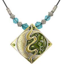 Square Circle Pendant Beads Necklace Charm Austrian Crystal Peridot Jewel Enamel