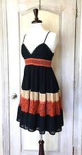 NWT Anthropologie HD in Paris black nude rust Babydoll Swing Lace Dress Petite M