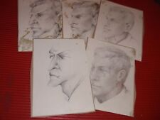 5 ORIGINAL PENCIL  DRAWINGS BY NOTED ARTIST NADINE KARNOW PORTRAITS SIGNED
