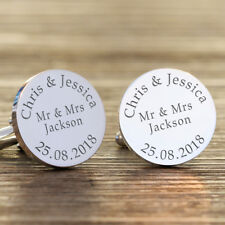 Personalised Mr & Mrs Wedding Day Groom Cufflinks, Wedding Day Gift, Groom Gift