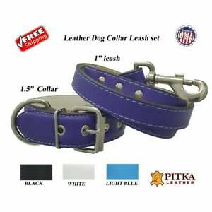 XL Leather Dog Collar and Leash - Durable Collars made in USA - Free shipping