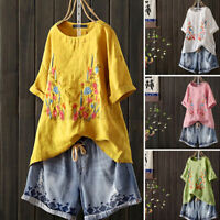 Womens Linen Cotton Embroidery Shirt Tops Short Sleeve Baggy Blouse T-Shirt Tee