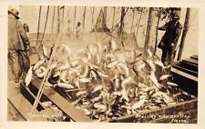 RPPC BRAILING A SALMON TRAP ALASKA REAL PHOTO POSTCARD (c. 1930s)