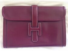 Auth Pre-Loved Hermes Jige PM Rough H Box Calf Leather Clutch Bag, Vintage