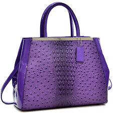 New Dasein Women Handbags Faux Ostrich Leather Satchel Tote Shoulder Work Bags