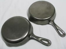 """2 Vintage #3 Cast Iron Skillets, 6"""", Clean and Unseasoned"""