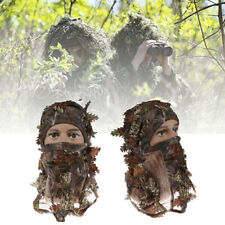 Adults Woodland Camo/Camouflage Hunting 3D Leaf Hoods Mask Breathable Thin Ha NF