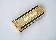 Vintage Gold Tone Money Tie Clip Great Design Inlay Monogram