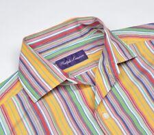 Ralph Lauren Purple Label Kollektion Hemd Shirt Gr S Made in Italy Streifen Slim