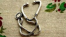 Stethoscope doctor nurse 3 charms silver vintage style jewellery supplies C771
