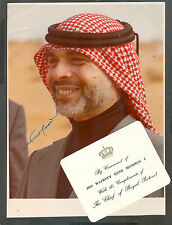 RARE KING HUSSEIN I OF JORDAN HAND SIGNED PHOTO + PERSONAL CARD + OFFICIAL COVER