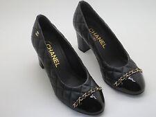 $800 Chanel Black Leather  CC Logo Chain Shoes Pumps 35 New