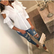 UK Womens White Off Shoulder Long Sleeve Shirt Ladies Casual Tops Blouse Top