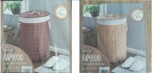 Round Bamboo, Eco Friendly Landry basket in a choice of Light Brown/ Dark Brown