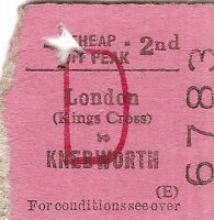 B.R.B. Edmondson Ticket - London Kings Cross to Knebworth