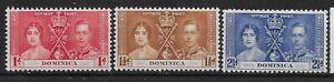 DOMINICA SG96/8 1937 CORONATION SET MTD MINT