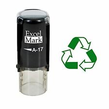 NEW ExcelMark RECYCLE SYMBOL Round Self Inking Rubber Stamp A17   Green Ink