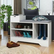 Entryway Shoe Bench Storage Cabinet Rack Cushion Seat Organizer Shelves w/Drawer