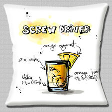 """'SCREW DRIVER' COCKTAIL INGREDIENTS NOVELTY WHITE MULTI 16"""" Pillow Cushion Cover"""
