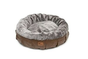 Harley Dog Bed Faux Leather & Grey Rabbit Fur - Pet Bed - Comfy - Luxury Bed