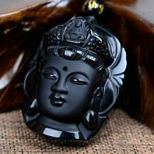 Volcanic Protective Obsidian Buddha(Guan Yin) Pendant Necklace/FREE P&P/UK Stock