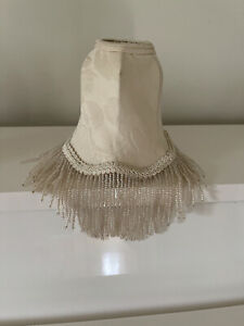 """Vintage Beaded Lampshade, 5 1/8"""" Tall, Beige Moire, Pattern, Clip-on"""