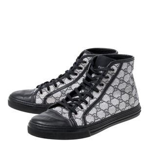 Gucci GG Supreme Canvas Leather Cap Toe High Top Sneakers, Beige, New, Ori$630!!