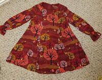 Genuine Kids Oshkosh Dress Toddler Girl Burgundy Nature Landscape Print Size 5T