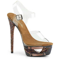 Pleaser ECLIPSE-608GT Women's Sexy Clear Brown Multi Glitter Tinted Heel Sandals