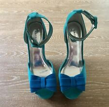 c2147343a97 Bamboo Womans Platform Wedge Ankle Strap Shoes Blue Size 6.5