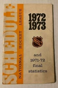 1971-72 NHL National Hockey League Stats & 1972-73 Schedule Booklet