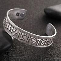 Nordic Viking Runes Wide Open Cuff Bangle Bracelet Wristband Jewellery