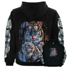 Wild White Tiger Zipped Hoodie Hooded Sweater M L XL